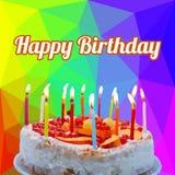 生日快乐蛋糕多角形传染媒介 免版税库存图片
