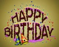 生日快乐蛋糕或乐趣生日快乐蛋糕 库存图片
