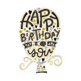 生日快乐贺卡字法 手拉的邀请 印刷术背景 庆祝文本 手写 向量例证
