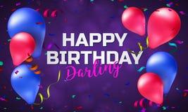 生日快乐贺卡或横幅与五颜六色的气球、五彩纸屑和地方您的文本的 库存照片