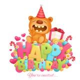 生日快乐邀请与玩具玩具熊漫画人物的卡片模板 库存图片