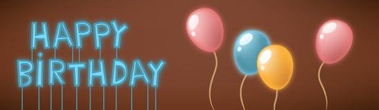 生日快乐霓虹灯广告看板卡 库存图片
