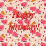 生日快乐!与甜点的样式 免版税库存图片