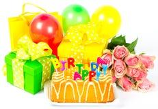 生日快乐! 五颜六色的当事人装饰 免版税库存图片
