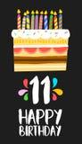 生日快乐11十一年的党的蛋糕卡片 库存例证