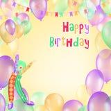 生日快乐贺卡和海报的传染媒介设计与气球,五彩纸屑 免版税库存照片