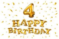 生日快乐4四金气球庆祝和金黄五彩纸屑,闪烁 您的贺卡的例证设计, invitati 免版税库存照片