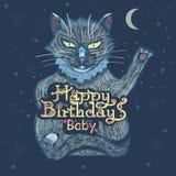 生日快乐!手与一只美丽的猫的题字字法 免版税图库摄影