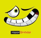 生日快乐滑稽的卡片微笑和眼睛 免版税库存图片
