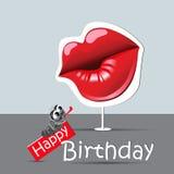生日快乐滑稽的卡片眼睛和微笑亲吻 免版税库存照片