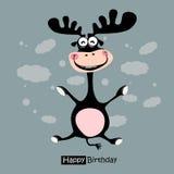 生日快乐滑稽的鹿微笑 免版税库存照片