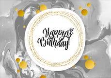 生日快乐黑色大理石纹理卡片 在白色背景的淡光金黄横幅模板 传染媒介例证金子 免版税库存照片