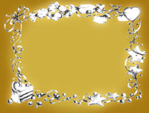 生日愉快框架的金子 库存图片