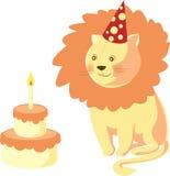 生日愉快的狮子 免版税库存图片