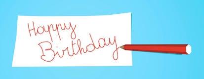 生日愉快的附注铅笔 免版税图库摄影