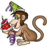 生日愉快的猴子 免版税库存照片