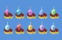 生日数字蜡烛和蛋糕集合 免版税库存照片
