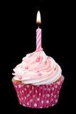 生日杯形蛋糕粉红色 免版税库存照片