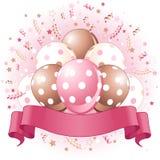 桃红色生日气球设计 免版税库存图片