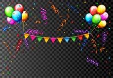 生日气球有五彩纸屑背景 免版税库存图片