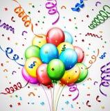 生日气球有五彩纸屑背景 库存图片