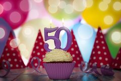 生日聚会为第五十个生日 免版税库存照片