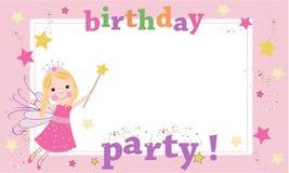 生日聚会摄影框架 神仙的生日题材 愉快生日贺卡的问候 库存图片
