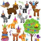 生日聚会森林或森林地动物的传染媒介汇集 库存图片