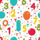 生日聚会气球的无缝的样式 库存照片