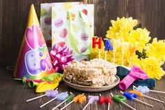 生日聚会背景,选择聚焦 免版税库存图片