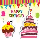 生日聚会蛋糕看板卡 免版税图库摄影