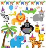 生日聚会主题的密林动物的传染媒介汇集 免版税图库摄影