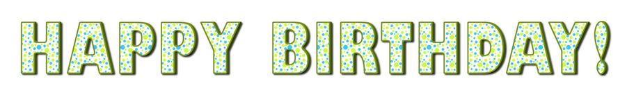 生日蓝色小点绿化愉快的短上衣 免版税库存图片