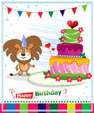 生日蛋糕。儿童明信片。出生日。 库存照片