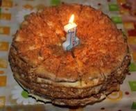 生日蛋糕为一个儿童` s生日一年 免版税库存图片
