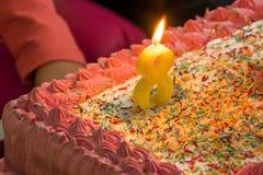 生日蛋糕为第八个生日 免版税库存图片
