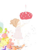 生日蛋糕女孩 免版税库存照片