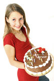 生日蛋糕女孩 免版税库存图片