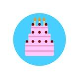 生日蛋糕平的象 圆的五颜六色的按钮,圆传染媒介标志,商标例证 图库摄影