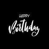 生日蛋糕愉快的例证登记做向量 与书法的贺卡 手拉的设计 黑白例证 库存例证