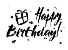 生日蛋糕愉快的例证登记做向量 与书法的贺卡 手拉的设计 黑色白色 向量例证