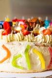 生日蛋糕用果子和糖果 免版税库存图片
