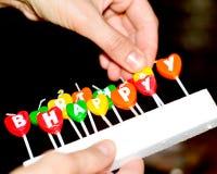 生日蛋糕的蜡烛 免版税库存照片