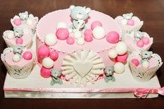 生日蛋糕的细节 库存图片