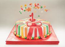 生日蛋糕第一年 免版税库存图片