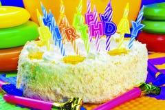 生日蛋糕蜡烛关闭深度域狭窄 库存图片