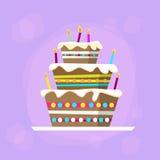生日蛋糕象平的传染媒介 库存例证