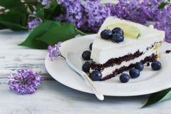 生日蛋糕部分 免版税图库摄影