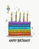 生日蛋糕,您的设计的明信片 免版税库存照片