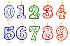 生日蜡烛在白色隔绝的数字集合 库存图片